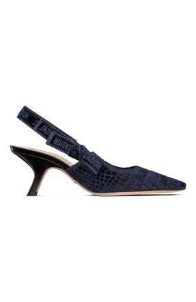 Женские текстильные туфли j'adior DIOR синего цвета, арт. KCP919CEVS56B   Фото 1 (Материал внешний: Текстиль; Каблук тип: Устойчивый; Каблук высота: Средний)