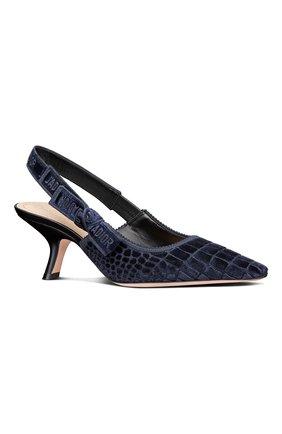 Женские текстильные туфли j'adior DIOR синего цвета, арт. KCP919CEVS56B   Фото 2 (Материал внешний: Текстиль; Каблук тип: Устойчивый; Каблук высота: Средний)