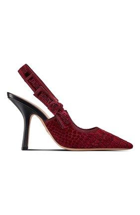 Женские текстильные туфли j'adior DIOR бордового цвета, арт. KCP920CEVS33R | Фото 1 (Материал внешний: Текстиль; Каблук тип: Устойчивый; Каблук высота: Высокий)