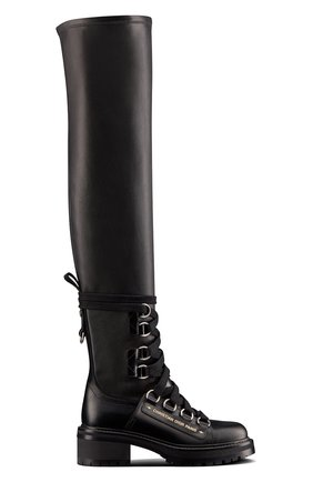 Женские кожаные ботфорты d-fight DIOR черного цвета, арт. KCI696XLCS20X   Фото 1 (Каблук тип: Устойчивый; Каблук высота: Низкий)