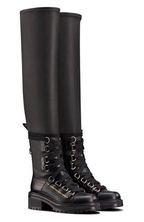 Женские кожаные ботфорты d-fight DIOR черного цвета, арт. KCI696XLCS20X   Фото 2 (Каблук тип: Устойчивый; Каблук высота: Низкий)