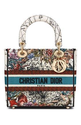 Женская сумка lady d-lite medium DIOR бежевого цвета, арт. M0565ORHPM941   Фото 1 (Материал: Текстиль; Сумки-технические: Сумки top-handle, Сумки через плечо; Размер: medium)