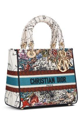 Женская сумка lady d-lite medium DIOR бежевого цвета, арт. M0565ORHPM941   Фото 2 (Материал: Текстиль; Сумки-технические: Сумки top-handle, Сумки через плечо; Размер: medium)