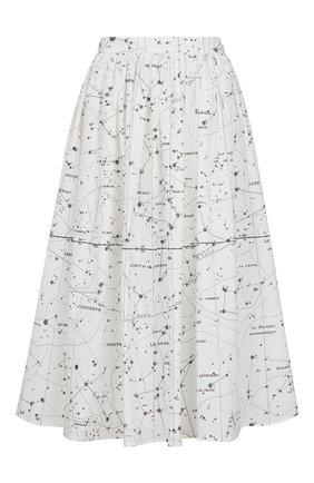 Женская хлопковая юбка DIOR белого цвета, арт. 151J79A3701X0831 | Фото 1 (Материал внешний: Хлопок; Женское Кросс-КТ: Юбка-одежда; Длина Ж (юбки, платья, шорты): Миди; Стили: Романтичный)