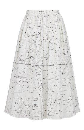 Женская хлопковая юбка DIOR белого цвета, арт. 151J79A3701X0831 | Фото 2 (Материал внешний: Хлопок; Женское Кросс-КТ: Юбка-одежда; Длина Ж (юбки, платья, шорты): Миди; Стили: Романтичный)