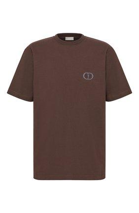 Мужская хлопковая футболка DIOR коричневого цвета, арт. 943J605A0554C731   Фото 1 (Материал внешний: Хлопок; Принт: С принтом; Рукава: Короткие; Стили: Кэжуэл)