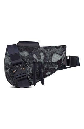 Мужская текстильная сумка saddle dior x peter doig DIOR темно-синего цвета, арт. 1ADPO093UDCH07E | Фото 1 (Материал: Текстиль)