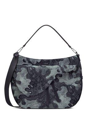 Мужская текстильная сумка saddle soft dior x peter doig DIOR темно-синего цвета, арт. 1ADHO023UDCH07E | Фото 1 (Материал: Текстиль)
