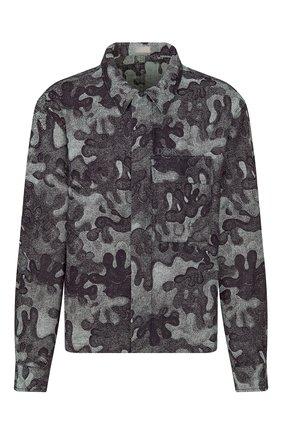 Мужская джинсовая куртка-рубашка dior x peter doig DIOR темно-синего цвета, арт. 013D488B5340C580 | Фото 1 (Материал внешний: Хлопок; Кросс-КТ: Куртка, Деним; Длина (верхняя одежда): Короткие; Стили: Кэжуэл)