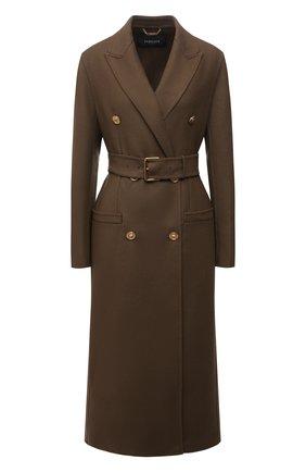Женское шерстяное пальто VERSACE хаки цвета, арт. 1001056/1A00884   Фото 1 (Материал внешний: Шерсть; Длина (верхняя одежда): Длинные; Рукава: Длинные; Стили: Гламурный; 1-2-бортные: Двубортные)