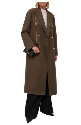 Женское шерстяное пальто VERSACE хаки цвета, арт. 1001056/1A00884   Фото 2 (Материал внешний: Шерсть; Длина (верхняя одежда): Длинные; Рукава: Длинные; Стили: Гламурный; 1-2-бортные: Двубортные)