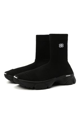 Женские текстильные кроссовки speed 3.0 BALENCIAGA черного цвета, арт. 654466/W2DN2   Фото 1 (Материал внутренний: Текстиль; Подошва: Платформа; Материал внешний: Текстиль; Кросс-КТ: хайтопы)