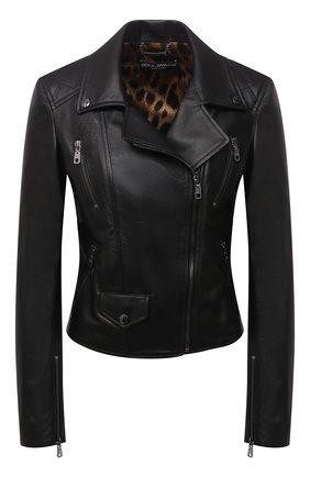 Женская кожаная куртка DOLCE & GABBANA черного цвета, арт. F9K83L/HULNJ | Фото 1 (Материал подклада: Синтетический материал; Рукава: Длинные; Длина (верхняя одежда): Короткие; Стили: Гламурный; Женское Кросс-КТ: Замша и кожа; Кросс-КТ: Куртка)
