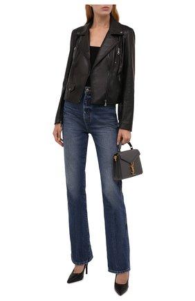 Женская кожаная куртка DOLCE & GABBANA черного цвета, арт. F9K83L/HULNJ | Фото 2 (Материал подклада: Синтетический материал; Рукава: Длинные; Длина (верхняя одежда): Короткие; Стили: Гламурный; Женское Кросс-КТ: Замша и кожа; Кросс-КТ: Куртка)