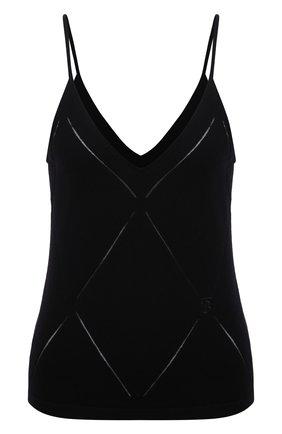 Женский шерстяной топ BURBERRY черного цвета, арт. 8044750   Фото 1 (Материал внешний: Шерсть; Длина (для топов): Стандартные; Стили: Гламурный; Кросс-КТ: без рукавов)