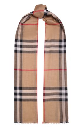 Женский шарф из шерсти и шелка BURBERRY бежевого цвета, арт. 8018468   Фото 1 (Материал: Текстиль, Шерсть, Шелк)