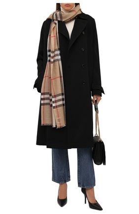 Женский шарф из шерсти и шелка BURBERRY бежевого цвета, арт. 8018468   Фото 2 (Материал: Текстиль, Шерсть, Шелк)