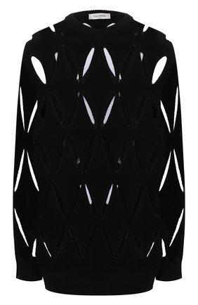 Женский шерстяной пуловер VALENTINO черного цвета, арт. WB0KC27X6R2   Фото 1 (Материал внешний: Шерсть; Длина (для топов): Удлиненные; Рукава: Длинные; Стили: Гламурный; Женское Кросс-КТ: Пуловер-одежда)