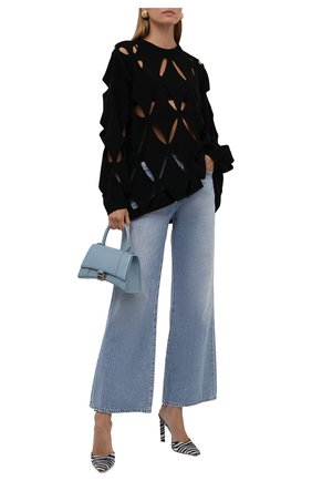 Женский шерстяной пуловер VALENTINO черного цвета, арт. WB0KC27X6R2   Фото 2 (Материал внешний: Шерсть; Длина (для топов): Удлиненные; Рукава: Длинные; Стили: Гламурный; Женское Кросс-КТ: Пуловер-одежда)