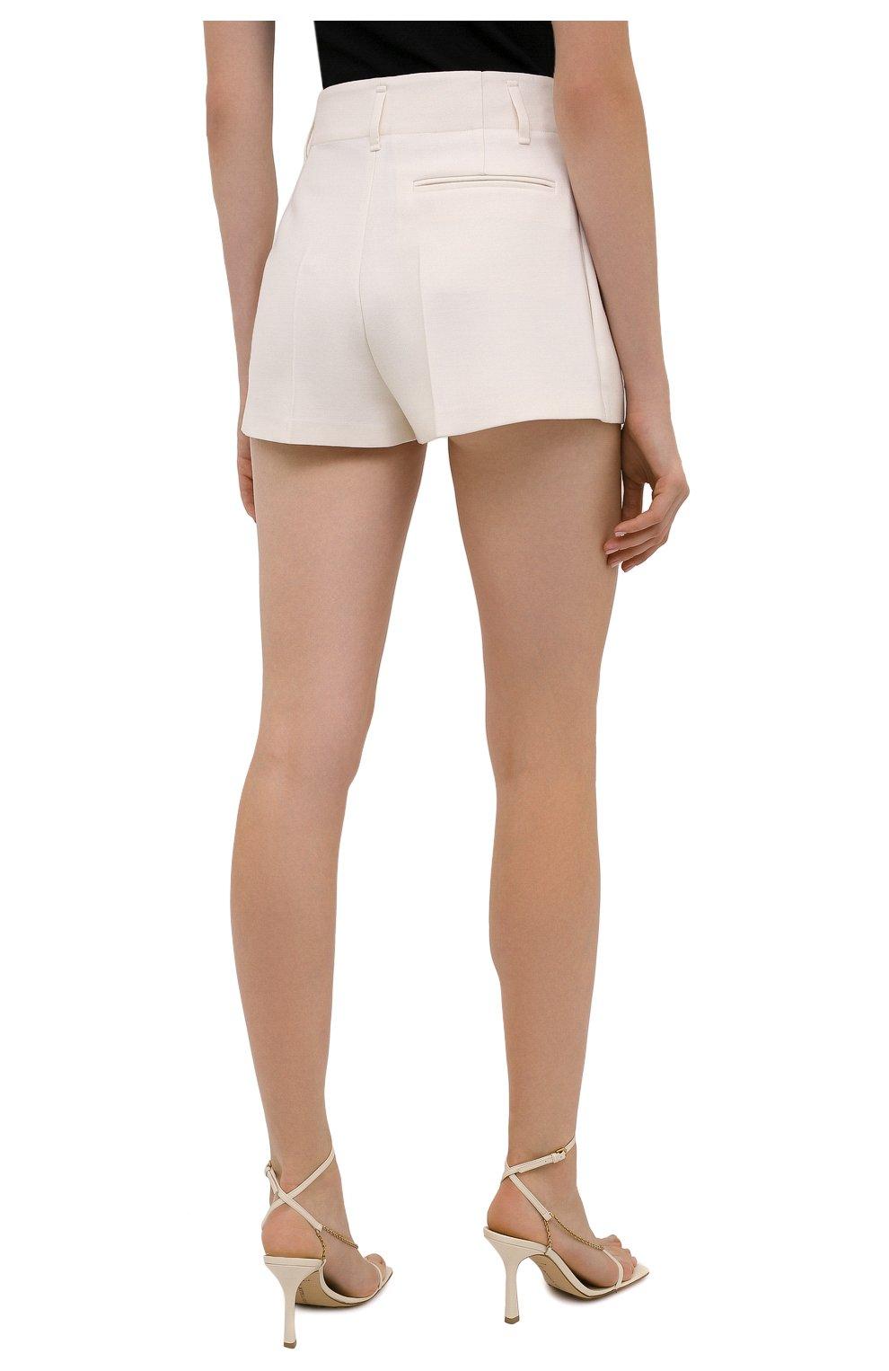 Женские шерстяные шорты VALENTINO белого цвета, арт. WB0RF1T06LR   Фото 4 (Материал внешний: Шерсть; Длина Ж (юбки, платья, шорты): Мини; Стили: Кэжуэл)