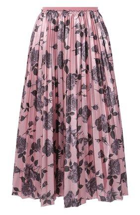 Женская юбка REDVALENTINO светло-розового цвета, арт. WR0RAH25/65K   Фото 1 (Материал внешний: Металлизированное волокно, Синтетический материал; Длина Ж (юбки, платья, шорты): Миди; Стили: Романтичный; Женское Кросс-КТ: юбка-плиссе)