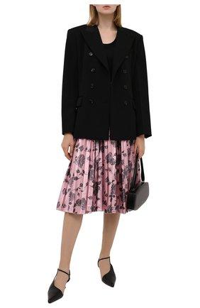 Женская юбка REDVALENTINO светло-розового цвета, арт. WR0RAH25/65K   Фото 2 (Материал внешний: Металлизированное волокно, Синтетический материал; Длина Ж (юбки, платья, шорты): Миди; Стили: Романтичный; Женское Кросс-КТ: юбка-плиссе)