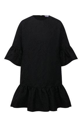 Женское платье REDVALENTINO черного цвета, арт. WR0VACC5/65F   Фото 1 (Длина Ж (юбки, платья, шорты): Мини; Материал внешний: Синтетический материал; Рукава: 3/4; Стили: Гламурный; Случай: Формальный; Женское Кросс-КТ: Платье-одежда)