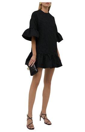 Женское платье REDVALENTINO черного цвета, арт. WR0VACC5/65F   Фото 2 (Длина Ж (юбки, платья, шорты): Мини; Материал внешний: Синтетический материал; Рукава: 3/4; Стили: Гламурный; Случай: Формальный; Женское Кросс-КТ: Платье-одежда)