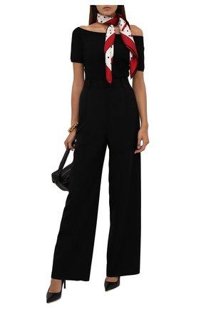 Женский шелковый платок VALENTINO кремвого цвета, арт. WW0EI114/HAJ   Фото 2 (Материал: Текстиль, Шелк)