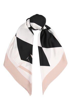Женский шелковый платок VALENTINO кремвого цвета, арт. WW0EI114/NQX   Фото 1 (Материал: Шелк, Текстиль)