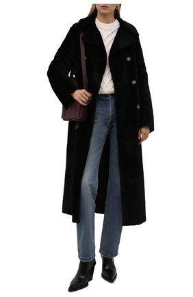 Женская дубленка ANNE VEST черного цвета, арт. AW21/01/206/12/TRENCH C0AT | Фото 2 (Материал внешний: Натуральный мех; Длина (верхняя одежда): Длинные; Рукава: Длинные; Стили: Кэжуэл; Женское Кросс-КТ: Мех)