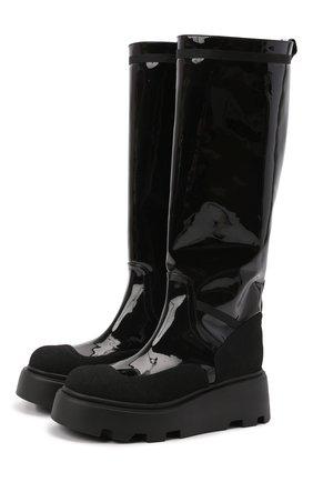 Женские кожаные сапоги PREMIATA черного цвета, арт. M6125/CREPE+VERNICE+BUTTERFLY   Фото 1 (Материал внутренний: Натуральная кожа; Высота голенища: Средние; Подошва: Платформа; Каблук высота: Без каблука; Каблук тип: Устойчивый)