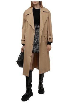 Женские кожаные сапоги PREMIATA черного цвета, арт. M6125/CREPE+VERNICE+BUTTERFLY   Фото 2 (Материал внутренний: Натуральная кожа; Высота голенища: Средние; Подошва: Платформа; Каблук высота: Без каблука; Каблук тип: Устойчивый)