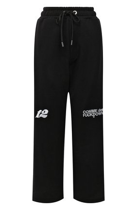 Женские хлопковые брюки COMME DES FUCKDOWN черного цвета, арт. CDFU1313 | Фото 1 (Материал внешний: Хлопок; Длина (брюки, джинсы): Стандартные; Стили: Спорт-шик; Женское Кросс-КТ: Брюки-одежда, Брюки-спорт; Силуэт Ж (брюки и джинсы): Широкие)