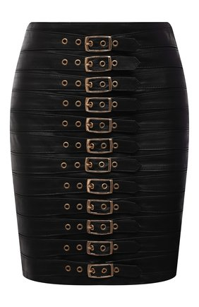 Женская кожаная юбка MANOKHI черного цвета, арт. A0000033 | Фото 1 (Материал подклада: Вискоза; Длина Ж (юбки, платья, шорты): Мини; Стили: Гламурный; Женское Кросс-КТ: Юбка-одежда)