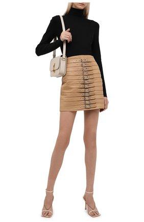 Женская кожаная юбка MANOKHI бежевого цвета, арт. A0000033 | Фото 2 (Длина Ж (юбки, платья, шорты): Мини; Материал подклада: Вискоза; Стили: Гламурный; Женское Кросс-КТ: Юбка-одежда)