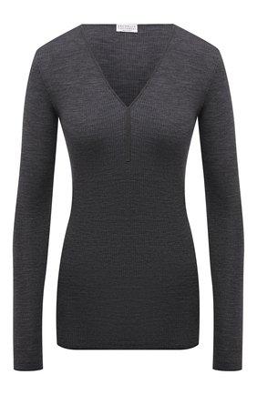 Женский шерстяной пуловер BRUNELLO CUCINELLI темно-серого цвета, арт. MD929BY222 | Фото 1 (Рукава: Длинные; Длина (для топов): Стандартные; Материал внешний: Шерсть; Стили: Кэжуэл; Женское Кросс-КТ: Пуловер-одежда)