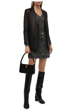 Женский шерстяной пуловер BRUNELLO CUCINELLI темно-серого цвета, арт. MD929BY222 | Фото 2 (Рукава: Длинные; Длина (для топов): Стандартные; Материал внешний: Шерсть; Стили: Кэжуэл; Женское Кросс-КТ: Пуловер-одежда)