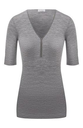 Женский шерстяной пуловер BRUNELLO CUCINELLI серого цвета, арт. MD929BY212 | Фото 1 (Длина (для топов): Стандартные; Рукава: 3/4; Материал внешний: Шерсть; Стили: Кэжуэл; Женское Кросс-КТ: Пуловер-одежда)