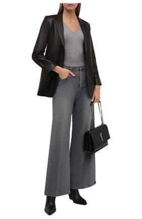 Женский шерстяной пуловер BRUNELLO CUCINELLI серого цвета, арт. MD929BY212 | Фото 2 (Длина (для топов): Стандартные; Рукава: 3/4; Материал внешний: Шерсть; Стили: Кэжуэл; Женское Кросс-КТ: Пуловер-одежда)