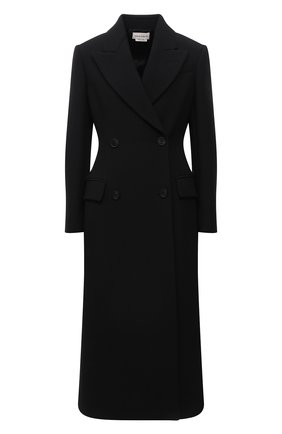 Женское шерстяное пальто ALEXANDER MCQUEEN черного цвета, арт. 677528/QJACM | Фото 1 (Материал внешний: Шерсть; Материал подклада: Купро; Рукава: Длинные; Длина (верхняя одежда): Длинные; Стили: Гламурный; 1-2-бортные: Двубортные)