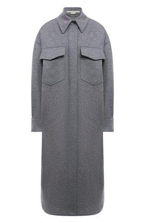 Женское шерстяное пальто STELLA MCCARTNEY светло-серого цвета, арт. 603596/SPB11 | Фото 1 (Рукава: Длинные; Длина (верхняя одежда): Длинные; Материал внешний: Шерсть; Стили: Кэжуэл; 1-2-бортные: Однобортные)