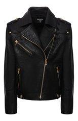 Женская кожаная куртка BALMAIN черного цвета, арт. WF1TD035/L166 | Фото 1 (Рукава: Длинные; Материал подклада: Вискоза; Длина (верхняя одежда): Короткие; Стили: Гламурный; Женское Кросс-КТ: Замша и кожа; Кросс-КТ: Куртка)