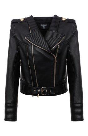 Женская кожаная куртка BALMAIN черного цвета, арт. WF1TD000/L158   Фото 1 (Материал подклада: Вискоза; Длина (верхняя одежда): Короткие; Рукава: Длинные; Стили: Гламурный; Женское Кросс-КТ: Замша и кожа; Кросс-КТ: Куртка)