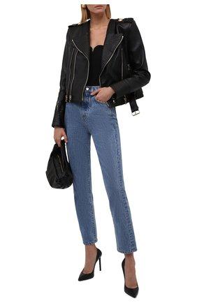 Женская кожаная куртка BALMAIN черного цвета, арт. WF1TD000/L158   Фото 2 (Материал подклада: Вискоза; Длина (верхняя одежда): Короткие; Рукава: Длинные; Стили: Гламурный; Женское Кросс-КТ: Замша и кожа; Кросс-КТ: Куртка)