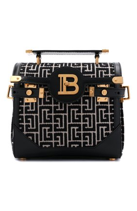 Женская сумка buzz 23 BALMAIN черно-белого цвета, арт. WN0DB599/TJGH   Фото 1 (Ремень/цепочка: На ремешке; Размер: small; Материал: Текстиль; Сумки-технические: Сумки top-handle)