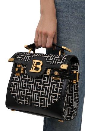 Женская сумка buzz 23 BALMAIN черно-белого цвета, арт. WN0DB599/TJGH   Фото 2 (Ремень/цепочка: На ремешке; Размер: small; Материал: Текстиль; Сумки-технические: Сумки top-handle)