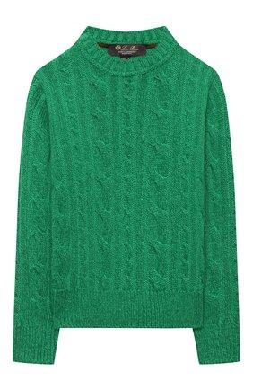Детский кашемировый пуловер LORO PIANA зеленого цвета, арт. FAL8319 | Фото 1 (Материал внешний: Кашемир, Шерсть; Рукава: Длинные; Мальчики Кросс-КТ: Пуловер-одежда; Ростовка одежда: 10 - 11 лет | 140 - 146см, 12 лет | 152 см, 4 года | 104 см, 6 лет | 116 см, 8 лет | 128 см)