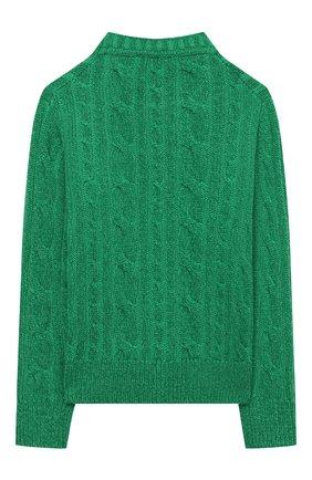 Детский кашемировый пуловер LORO PIANA зеленого цвета, арт. FAL8319 | Фото 2 (Материал внешний: Кашемир, Шерсть; Рукава: Длинные; Мальчики Кросс-КТ: Пуловер-одежда; Ростовка одежда: 10 - 11 лет | 140 - 146см, 12 лет | 152 см, 4 года | 104 см, 6 лет | 116 см, 8 лет | 128 см)
