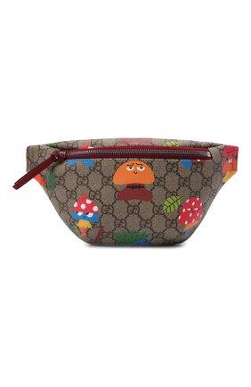 Детская поясная сумка GUCCI бежевого цвета, арт. 502095/22BDN   Фото 1 (Материал: Экокожа)